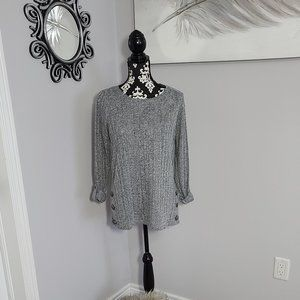 NWOT Grey Casual Top with Roll Up Sleeves, Sz M
